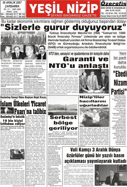 05 ARALIK 2007 YEŞİL NİZİP GAZETESİ