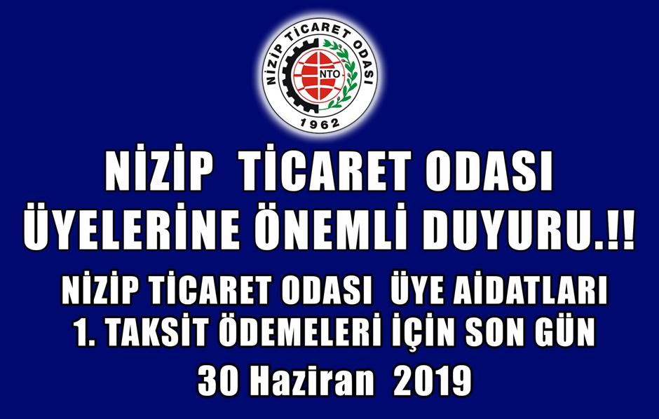 NTO Aidatları 1.Taksit Ödemeleri Son Gün 30 Hazira...