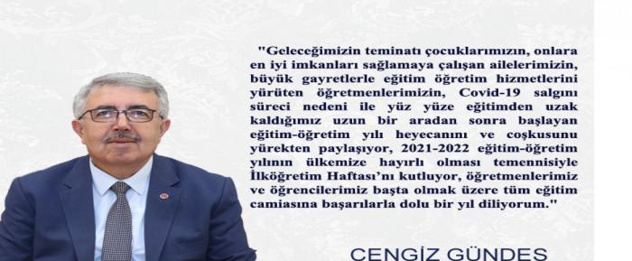 İlçe Milli Eğitim Müdürümüz Cengiz GÜNDEŞ'in İlköğretim Haftası Mesajı